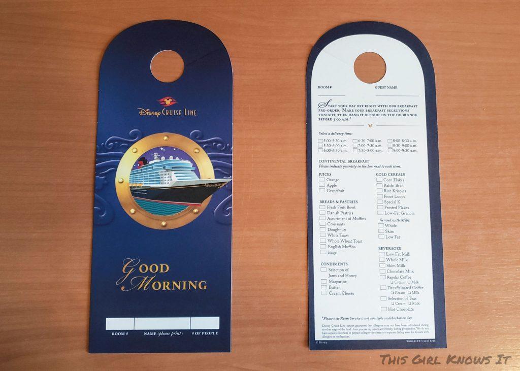 Disney Cruise Line Disney Dream Deluxe Oceanview Verandah Stateroom - Breakfast Room Service